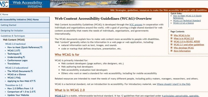 Ensuring web accessibility in accordance with national and international law as well as WCAG 2.0 guidelines